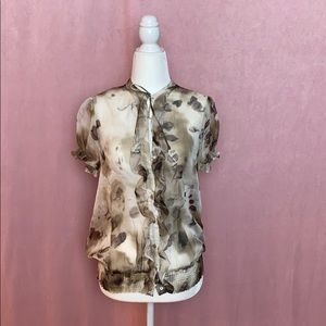 Zara cream and brown sheer blouse